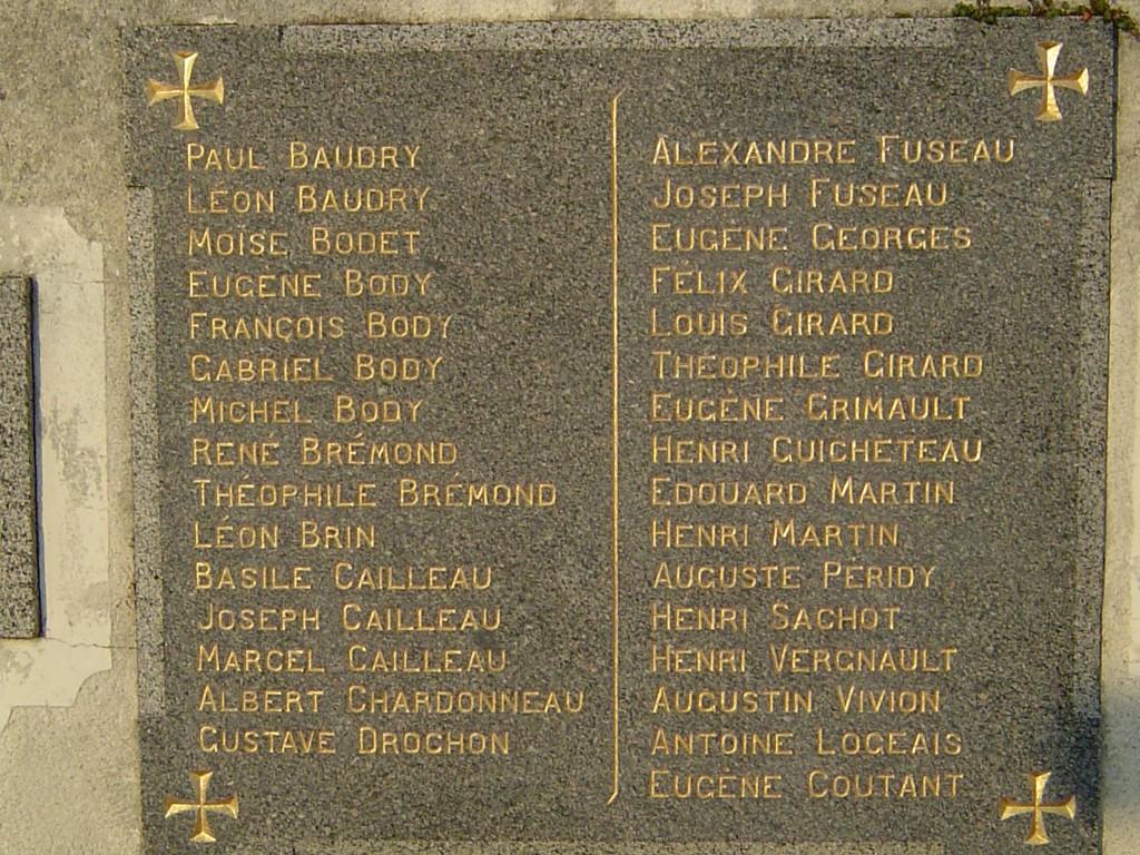 Monuments au morts detail