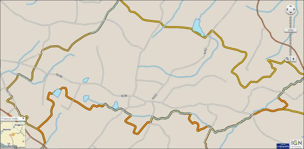 Carte routes et rivieres