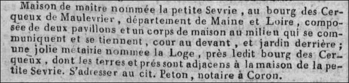 Vente La petite Sevrie 02 1804