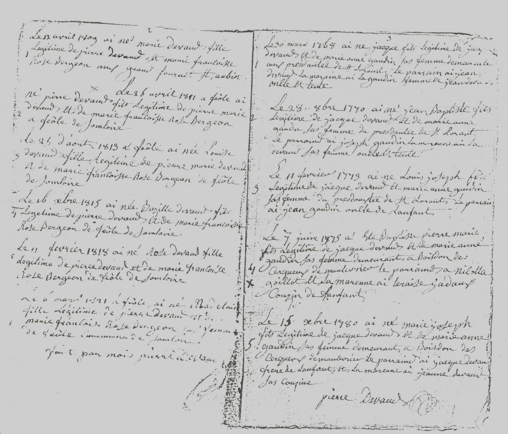 carnets Pierre Devaud Etat civil